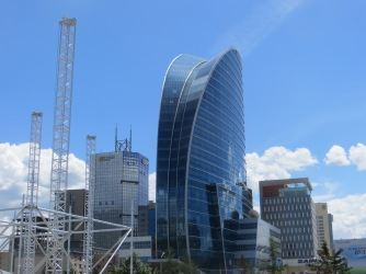 The tallest building in Mongolia, The Blue Sky Tower, houses luxury office and hotel spaces and signifies the rapid pace of building in Ulaanbaator.
