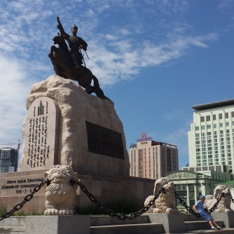 Statue of Damdin Sukhbaatar, a founding member of the Mongolian People's Party.